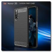 Купить Защитный Матовый Carbon Силиконовый Чехол для Huawei Honor 20 Черный на Apple-Land.ru