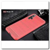 Купить Защитный Матовый Carbon Силиконовый Чехол для Huawei Honor 20 Красный на Apple-Land.ru