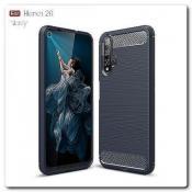 Купить Защитный Матовый Carbon Силиконовый Чехол для Huawei Honor 20 Синий на Apple-Land.ru