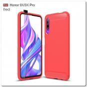 Купить Защитный Матовый Carbon Силиконовый Чехол для Huawei Honor 9X / Huawei Honor 9X Pro Красный на Apple-Land.ru