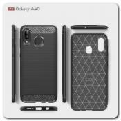 Купить Защитный Матовый Carbon Силиконовый Чехол для Samsung Galaxy A40 Черный на Apple-Land.ru