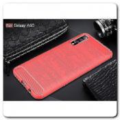 Купить Защитный Матовый Carbon Силиконовый Чехол для Samsung Galaxy A50 Красный на Apple-Land.ru