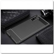 Купить Защитный Матовый Carbon Силиконовый Чехол для Samsung Galaxy Note 10 Синий на Apple-Land.ru