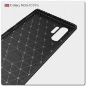 Защитный Матовый Carbon Силиконовый Чехол для Samsung Galaxy Note 10+ / Note 10 Plus Красный