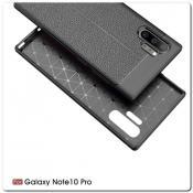 Купить Защитный Силиконовый Чехол Leather Cover для Samsung Galaxy Note 10+ / Note 10 Plus с Кожаной Текстурой Черный на Apple-Land.ru