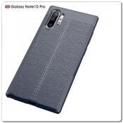 Купить Защитный Силиконовый Чехол Leather Cover для Samsung Galaxy Note 10+ / Note 10 Plus с Кожаной Текстурой Синий на Apple-Land.ru
