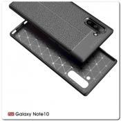 Купить Защитный Силиконовый Чехол Leather Cover для Samsung Galaxy Note 10 с Кожаной Текстурой Черный на Apple-Land.ru