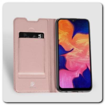 Тонкий Чехол Книжка DUX DUCIS из Гладкой Искусственной Кожи для Samsung Galaxy A10 Ярко-Розовый