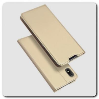 Тонкий Чехол Книжка DUX DUCIS из Гладкой Искусственной Кожи для Samsung Galaxy A10 Золотой