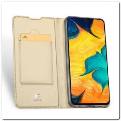 Тонкий Чехол Книжка DUX DUCIS из Гладкой Искусственной Кожи для Samsung Galaxy A30 Золотой
