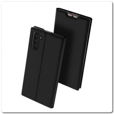 Тонкий Чехол Книжка DUX DUCIS из Гладкой Искусственной Кожи для Samsung Galaxy Note 10 Черный