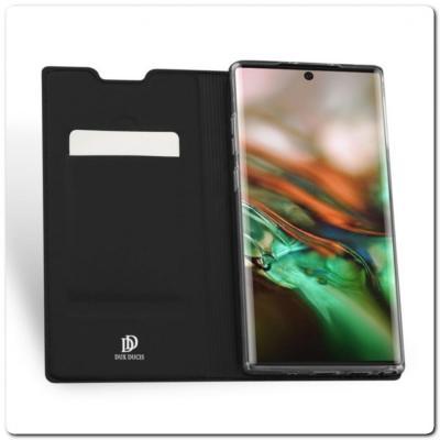 Тонкий Чехол Книжка DUX DUCIS из Гладкой Искусственной Кожи для Samsung Galaxy Note 10+ / Note 10 Plus Черный