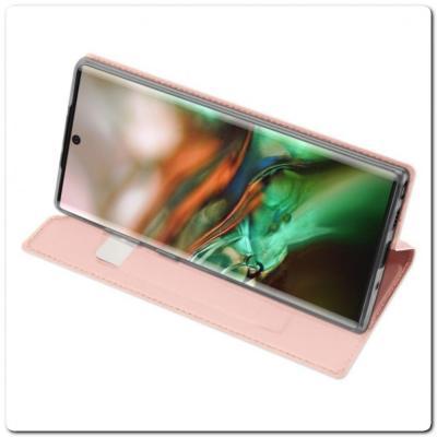 Тонкий Чехол Книжка DUX DUCIS из Гладкой Искусственной Кожи для Samsung Galaxy Note 10+ / Note 10 Plus Ярко-Розовый