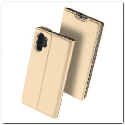 Тонкий Чехол Книжка DUX DUCIS из Гладкой Искусственной Кожи для Samsung Galaxy Note 10+ / Note 10 Plus Золотой