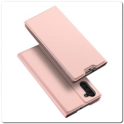 Тонкий Чехол Книжка DUX DUCIS из Гладкой Искусственной Кожи для Samsung Galaxy Note 10 Ярко-Розовый