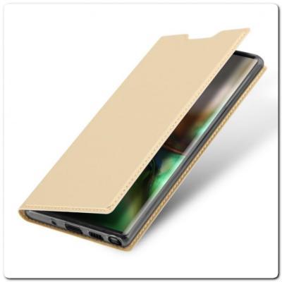 Тонкий Чехол Книжка DUX DUCIS из Гладкой Искусственной Кожи для Samsung Galaxy Note 10 Золотой