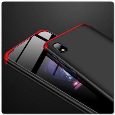 Тройной Съемный Пластиковый Чехол GKK 360° для Samsung Galaxy A10 Красный / Черный