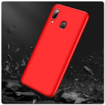 Тройной Съемный Пластиковый Чехол GKK 360° для Samsung Galaxy A30 / Galaxy A20 Красный