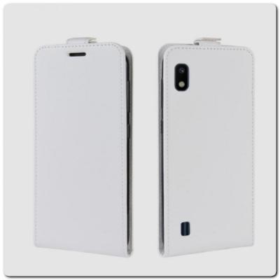 Вертикальный Чехол Книжка Флип Вниз для Samsung Galaxy A10 с карманом для карт Белый