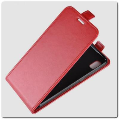 Вертикальный Чехол Книжка Флип Вниз для Samsung Galaxy A10 с карманом для карт Красный