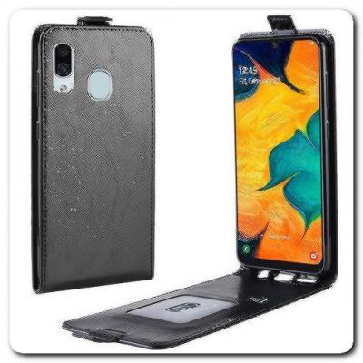 Вертикальный Чехол Книжка Флип Вниз для Samsung Galaxy A30 / Galaxy A20 с карманом для карт Черный