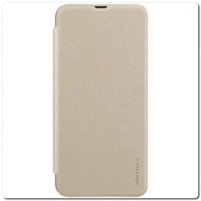 Вертикальный Чехол Книжка Флип Вниз для Samsung Galaxy A30 / Galaxy A20 с карманом для карт Золотой