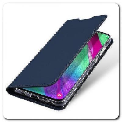 Вертикальный Чехол Книжка Флип Вниз для Samsung Galaxy A40 с карманом для карт Синий