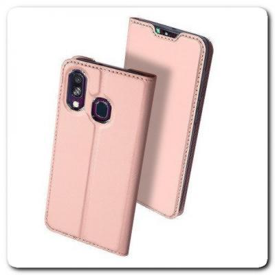 Вертикальный Чехол Книжка Флип Вниз для Samsung Galaxy A40 с карманом для карт Ярко-Розовый