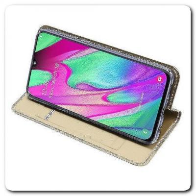 Вертикальный Чехол Книжка Флип Вниз для Samsung Galaxy A40 с карманом для карт Золотой