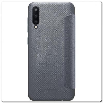 Вертикальный Чехол Книжка Флип Вниз для Samsung Galaxy A50 с карманом для карт Серый