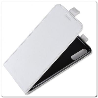 Вертикальный Чехол Книжка Флип Вниз для Samsung Galaxy A70 с карманом для карт Белый
