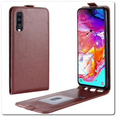 Вертикальный Чехол Книжка Флип Вниз для Samsung Galaxy A70 с карманом для карт Коричневый