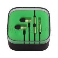 Наушники гарнитура Xiaomi Piston с микрофоном зелёные