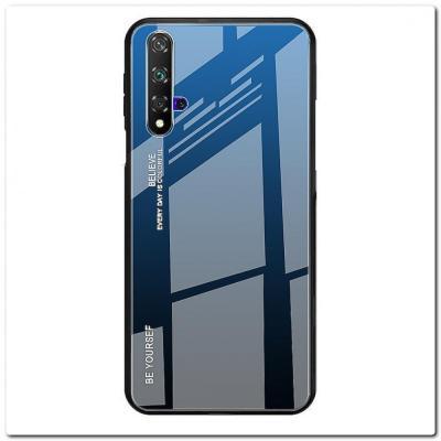 Защитный Чехол Gradient Color из Стекла и Силикона для Huawei Honor 20 Синий / Черный
