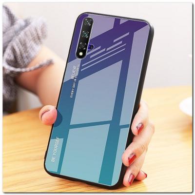Защитный Чехол Gradient Color из Стекла и Силикона для Huawei Honor 20 Синий / Фиолетовый