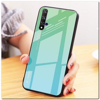 Защитный Чехол Gradient Color из Стекла и Силикона для Huawei Honor 20 Зеленый / Синий
