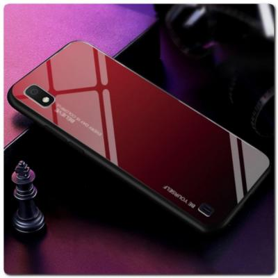 Защитный Чехол Gradient Color из Стекла и Силикона для Samsung Galaxy A10 Красный