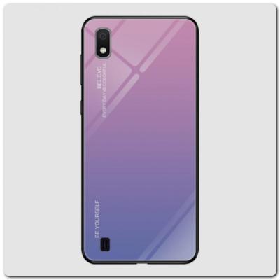 Защитный Чехол Gradient Color из Стекла и Силикона для Samsung Galaxy A10 Розовый
