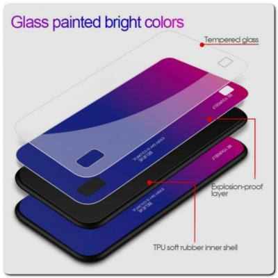 Защитный Чехол Gradient Color из Стекла и Силикона для Samsung Galaxy A10 Синий / Розовый