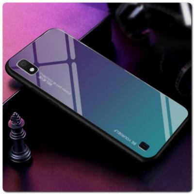 Защитный Чехол Gradient Color из Стекла и Силикона для Samsung Galaxy A10 Синий