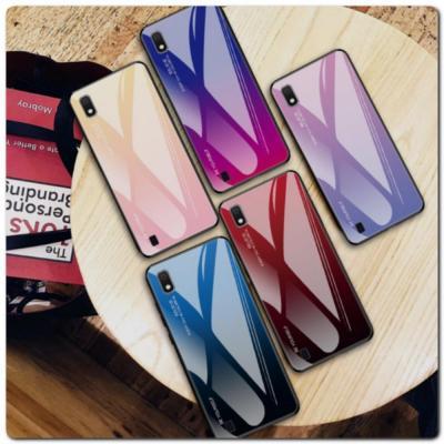 Защитный Чехол Gradient Color из Стекла и Силикона для Samsung Galaxy A10 Золотой / Розовый