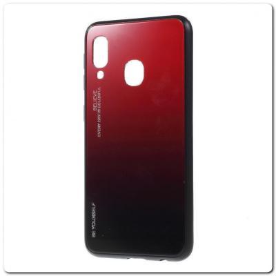 Защитный Чехол Gradient Color из Стекла и Силикона для Samsung Galaxy A40 Красный / Черный