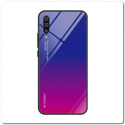 Защитный Чехол Gradient Color из Стекла и Силикона для Samsung Galaxy A50 Синий / Фиолетовый