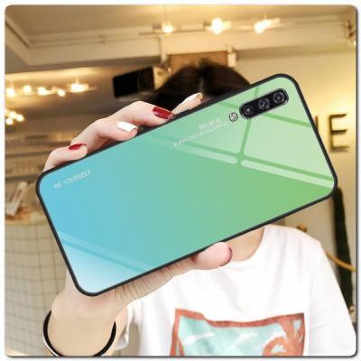 Защитный Чехол Gradient Color из Стекла и Силикона для Samsung Galaxy A50 Синий