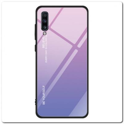 Защитный Чехол Gradient Color из Стекла и Силикона для Samsung Galaxy A70 Розовый