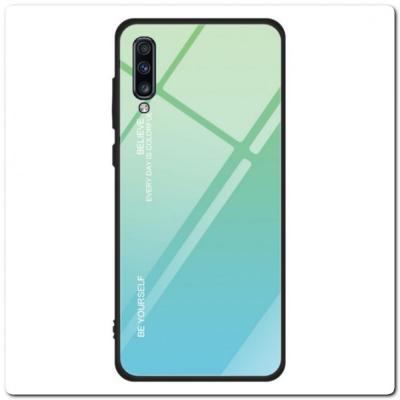 Защитный Чехол Gradient Color из Стекла и Силикона для Samsung Galaxy A70 Зеленый