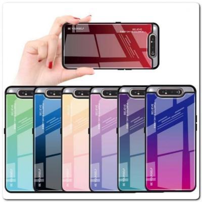 Защитный Чехол Gradient Color из Стекла и Силикона для Samsung Galaxy A80 Красный
