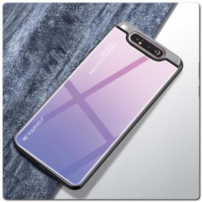 Защитный Чехол Gradient Color из Стекла и Силикона для Samsung Galaxy A80 Розовый