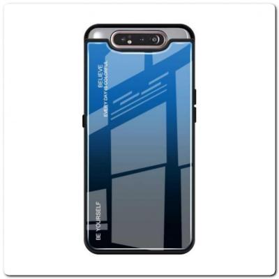 Защитный Чехол Gradient Color из Стекла и Силикона для Samsung Galaxy A80 Синий / Черный
