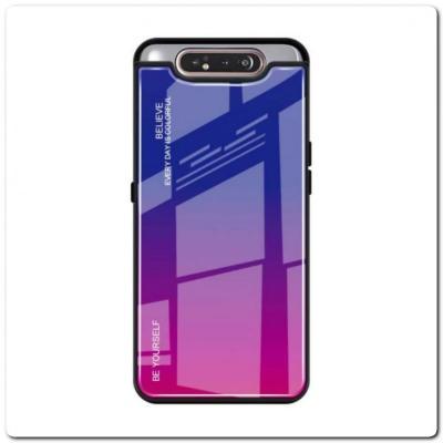 Защитный Чехол Gradient Color из Стекла и Силикона для Samsung Galaxy A80 Синий / Розовый